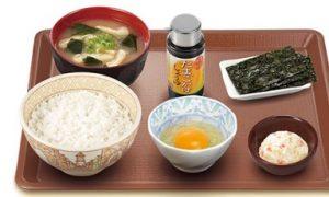 すき家朝定食「たまかけ朝食」
