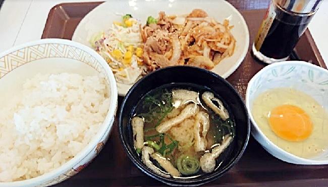 すき家の豚生姜焼き朝定食2019年3月20日実物
