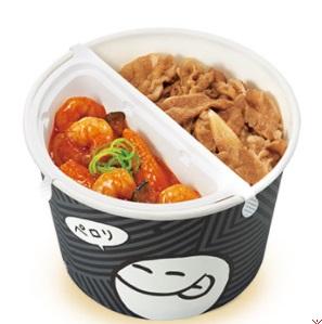 すき家のテイクアウト「SUKIMIX・エビチリ牛丼弁当」