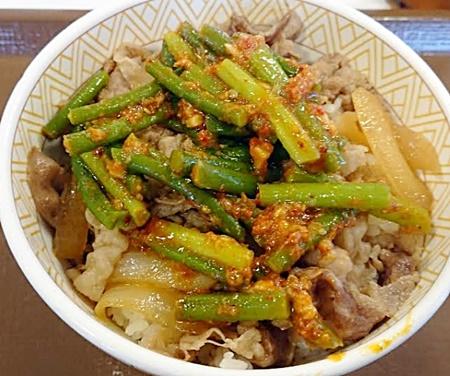 すき家「ニンニクの芽牛丼」2019年7月3日実物