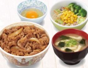 すき家の牛丼ランチセット